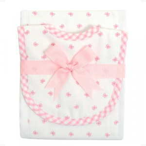 PINK BOW BIB AND BURP SET