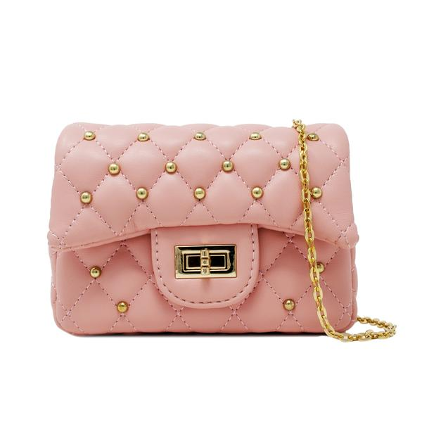 PINK CLASSIC QUILTED STUD MINI BAG
