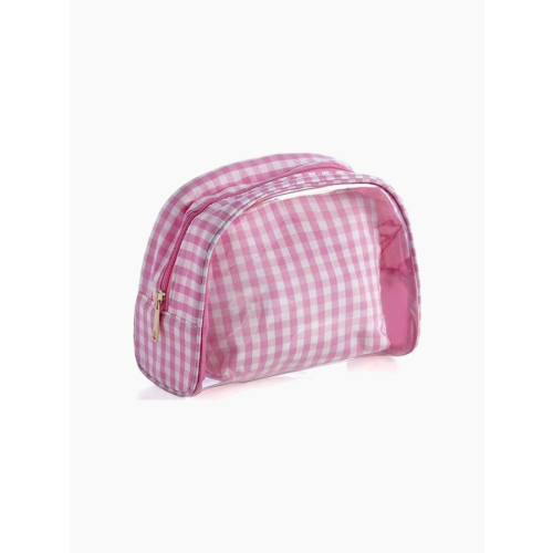 PINK PEPITA COSMETIC POUCH