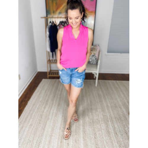 PINK RUFFLED NECK SHELL TOP