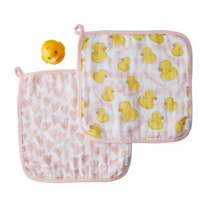 PINK WASHCLOTH AND DUCKY SET