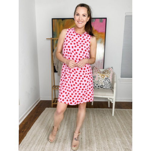 PINK WITH RED DOT SLEEVELESS DRESS