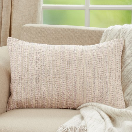 PINK WOVEN PILLOW- DOWN FILLED
