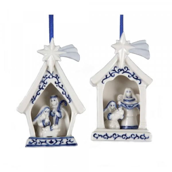 PORCELAIN HOLY FAMILY ORNAMENTS