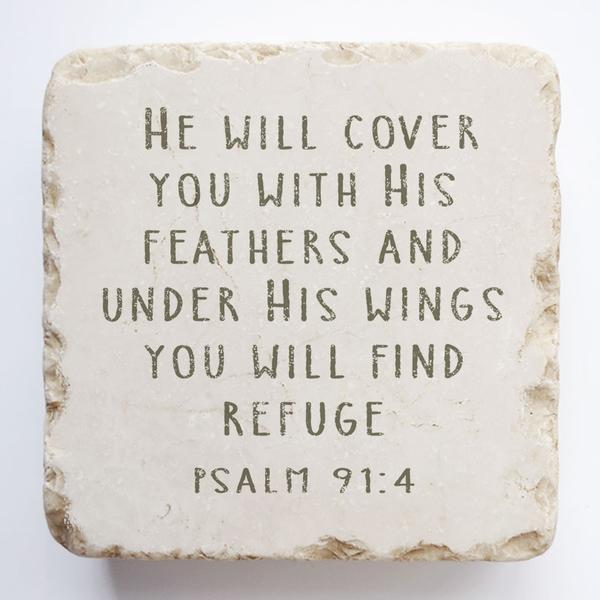 PSALM 91:4 STONE BLOCK