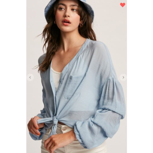 PUFF SLEEVE BUTTON DOWN TOP