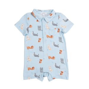 PUPPY PLAY BLUE POLO ROMPER