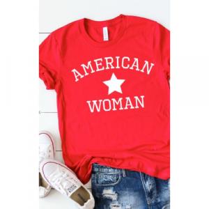 RED AMERICAN WOMAN TEE