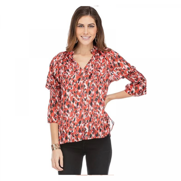 RED BLUSH CINCHED SLEEVE TOP