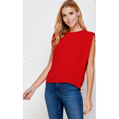 RED MUSCLE CRINKLE TOP