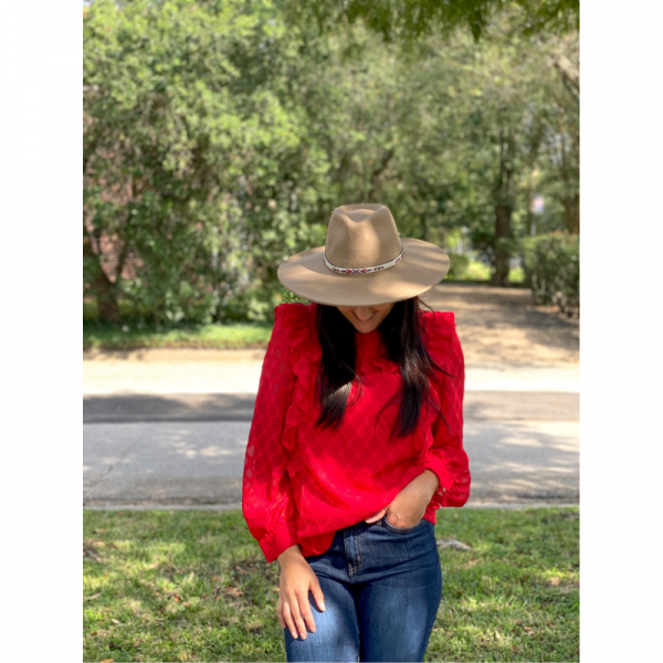 RED SIDE RUFFLES BLOUSE