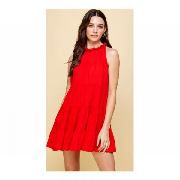 RED TIERED SLEEVELESS DRESS