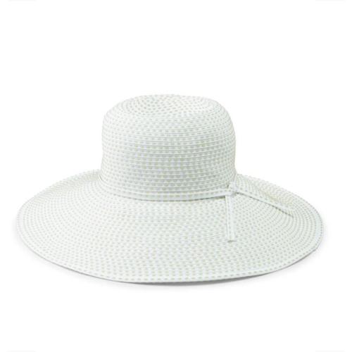 RIBBON BRAID HAT WITH TICKING-WHITE