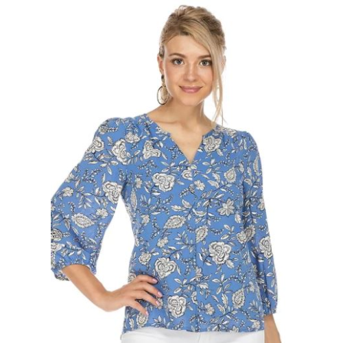 ROYAL FLORAL FRONT PLEATED TOP