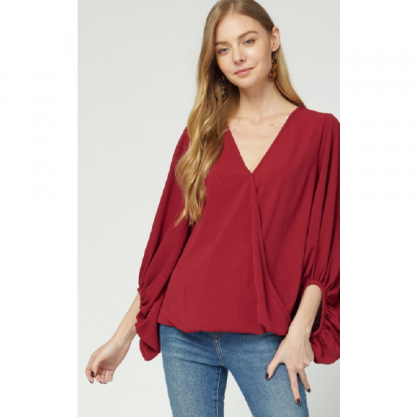 RUBY V-NECK WRAP BUBBLE SLEEVE TOP