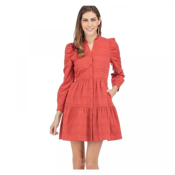 RUST BUTTON FRONT TIERED DRESS