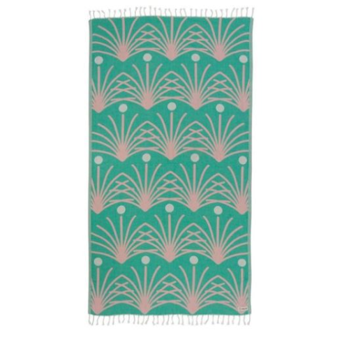 SAND CLOUD GREEN RETRO PALM TOWEL