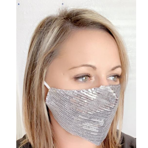 SEQUIN SILVER SPARKLE MASK