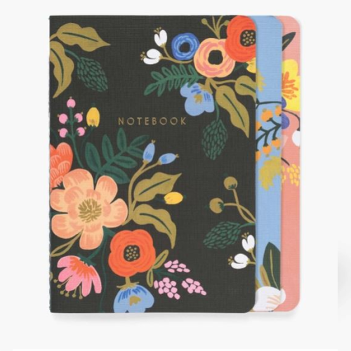SET OF 3 LIVELY FLORAL NOTEBOOKS