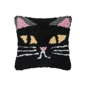 SPOOKY CAT FACE HOOKED PILLOW