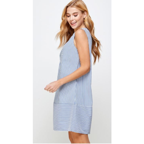 STRIPED TIERED SLEEVELESS CASUAL SHORT DRESS