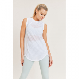 STRIPED WHITE TRELLIS MESH MUSCLE TOP