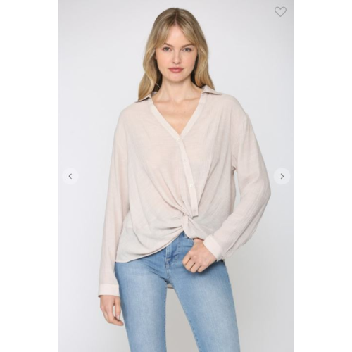 TAUPE TWIST FRONT BUTTONED SHIRT
