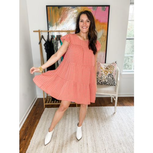 TERRACOTTA POLKA DOT TIERED DRESS