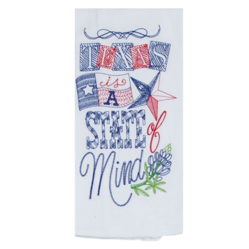 TEXAS STATE OF MIND EMBROIDERED FLOUR SACK TOWEL