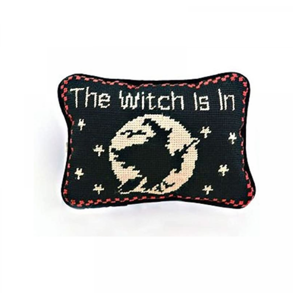 THE WITCH IS IN NEEDLE POINT PILLOW