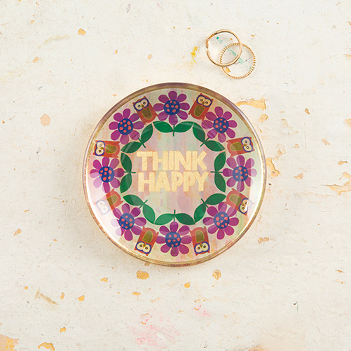 Think Happy Round Glass Tray Magpies Gifts