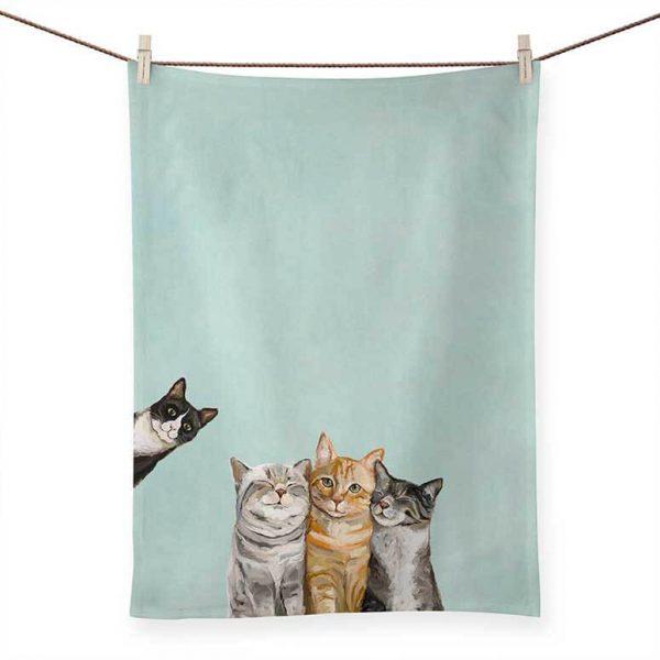 THREE CATS PLUS ONE TEA TOWEL