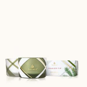 THYMES FRASIER FIR FROSTED PLAID CANDLE SET