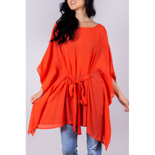 TOMATO RED TUNIC WITH FRONT TIE