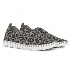 TULIP SLIP-ON WITH WHITE SOLE- LEOPARD GRAY