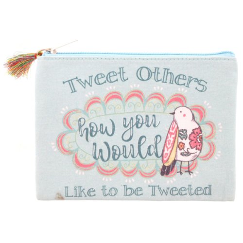 TWEET OTHERS HOW YOU WOULD LIKE TO BE TWEETED BIRD PENCIL BAG
