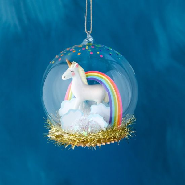 UNICORN DOME ORNAMENT 4.5""