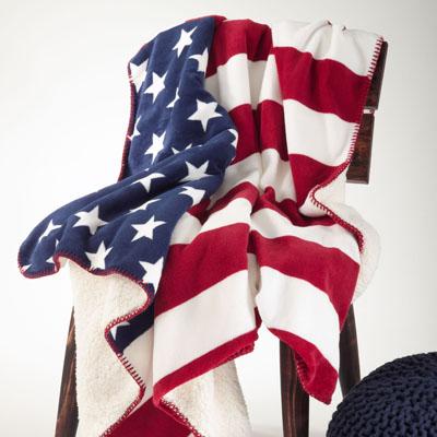US FLAG DESIGN SHERPA THROW