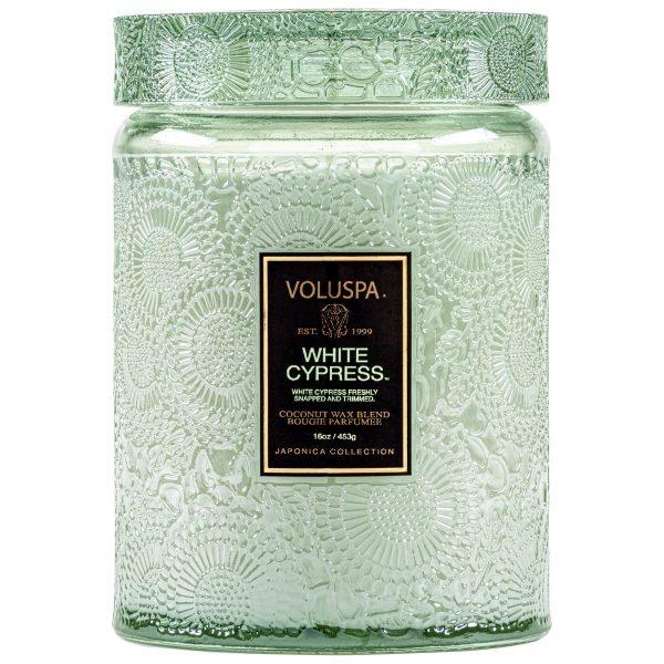 VOLUSPA WHITE CYPRESS LARGE JAR CANDLE