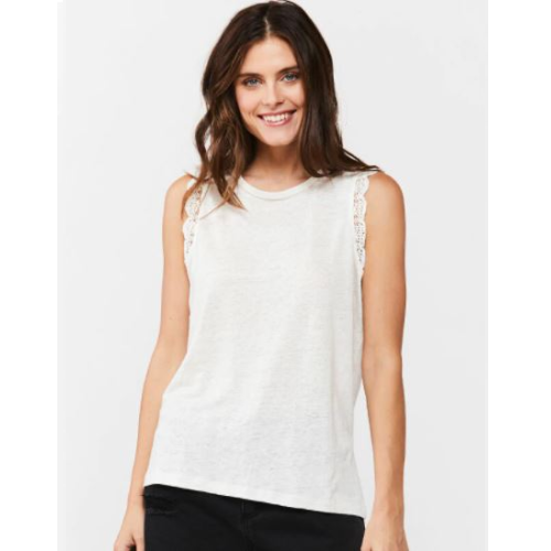 WAVERLY WHITE SLEEVELESS TOP