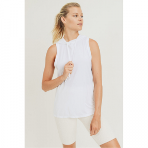 WHITE HOODIE MUSCLE ACTIVE TANK