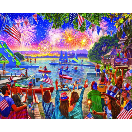 WHITE MOUNTAIN PUZZLES 4TH OF JULY FIREWORKS 100 PIECE