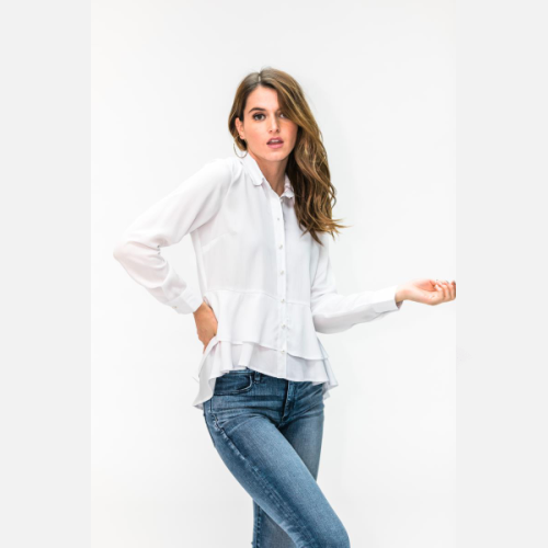 WHITE PEARL RUFFLE BUTTON UP