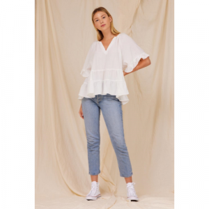 WHITE TIERED SWING BLOUSE