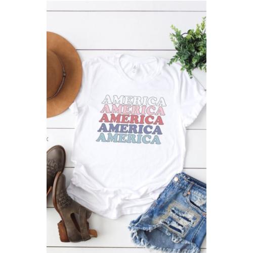 WHITE VINTAGE AMERICA GRAPHIC TEE