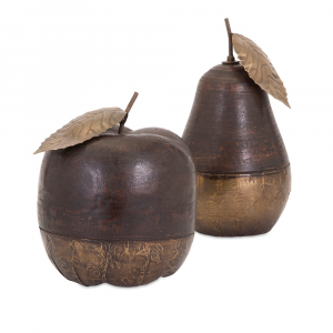WOOD AND BRASS FRUIT