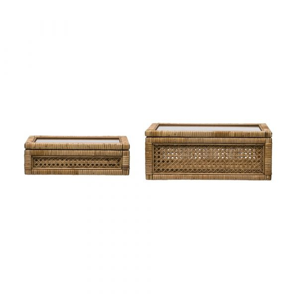 WOVEN RATTAN WOOD BOXES