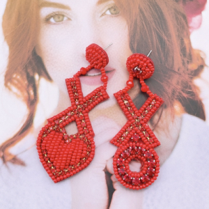 XOXO RED BEADED EARRINGS