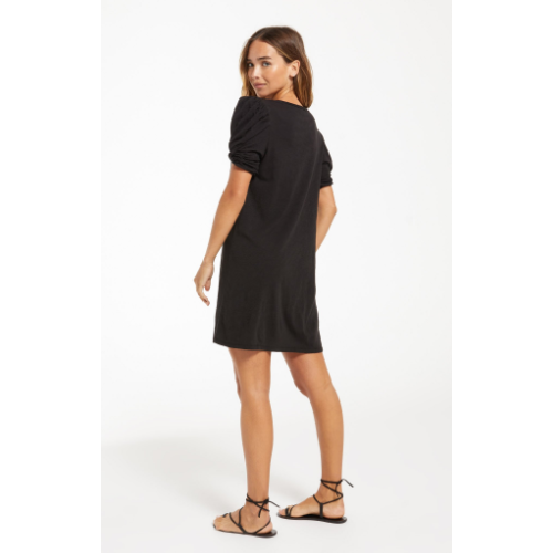 Z SUPPLY BLACK INDI PUFF SLEEVE DRESS