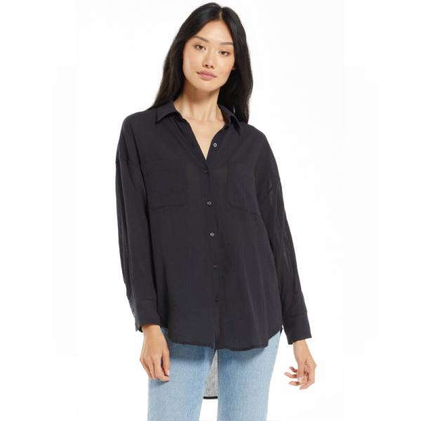 Z SUPPLY BLACK LALO BUTTON UP TOP